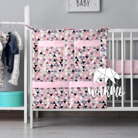 органайзер для ліжечка з рожевим геометричним малюнком фото