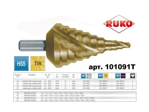 Сверло ступенчатое под кабельную пр-цию Ruko CBN HSS-TiN 5,3-38,5мм L96мм 11 ступеней 101091T