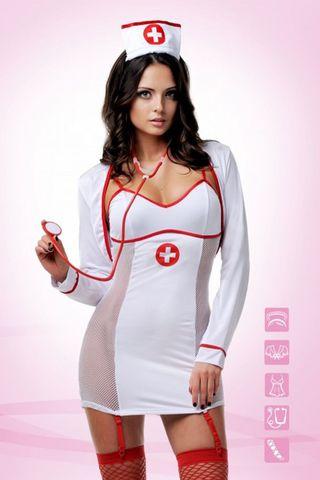 Костюм медсестры выполнен из полиэстера с элементами из эластана фото