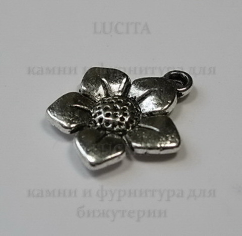 "Подвеска ""Цветок"" 15 мм (цвет - античное серебро)"