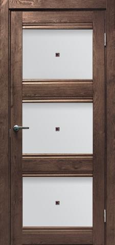 Дверь Эколайт Дорс Альфа, цвет дуб шоколадный, остекленная