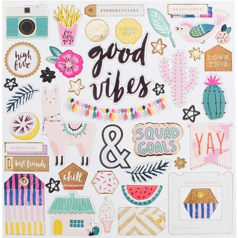 Чипборд Good Vibes Chipboard Stickers 30х30см
