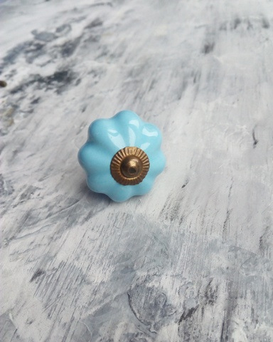 Ручка мебельная керамическая голубая, арт. 00001067