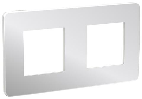 Рамка на 2 поста. Цвет Хром/белый. Schneider Electric Unica Studio. NU280455