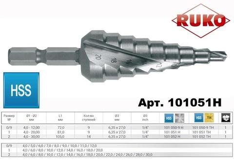 Сверло ступенчатое под биту Ruko CBN HSS 4-20мм L75мм 9 ступеней 101051H