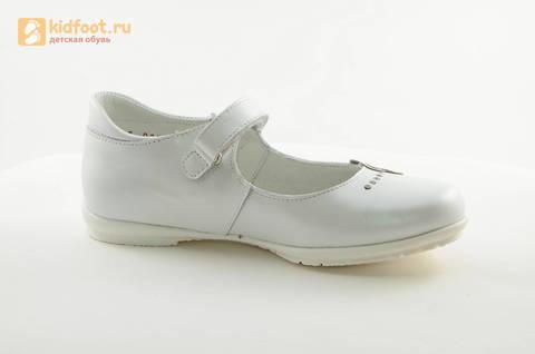 Туфли Тотто из натуральной кожи на липучке для девочек, цвет Белый, 10204D. Изображение 2 из 16.