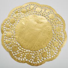 Салфетка кондитерская ажурная 24см 8 штук BE-0366 золотая