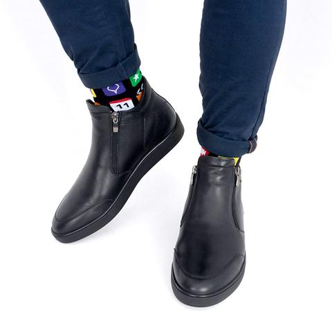 Мужские ботинки из натуральной кожи на молнии с подкладкой из натурального меха