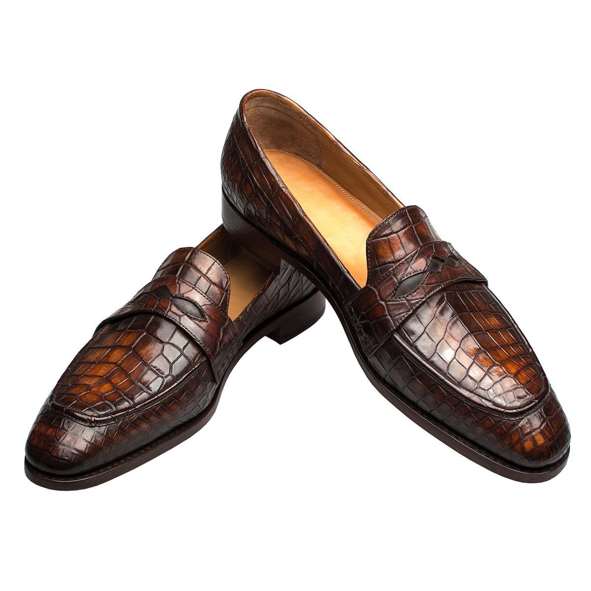 1eee5694f Мужские туфли лоферы из кожи крокодила коричневые | Артикул: MSC0403BR
