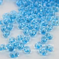 66010/ Бисер Preciosa Фарфаль (Farfalle) 4х2 мм прозрачный блестящий светло-голубой