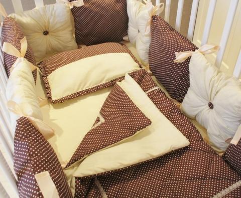 Комплект в кроватку Горошинка  Шампань, на 4 стороны кроватки