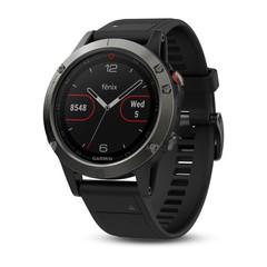 Умные мужские спортивные часы Garmin Fenix 5 - серые с черным ремешком 010-01688-00