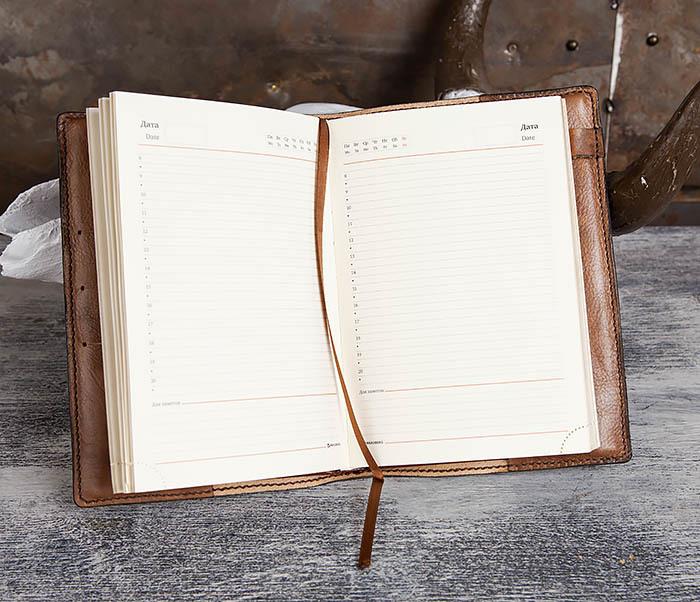 BC194 Ежедневник «Гагарин» в кожаной обложке (A5) фото 13
