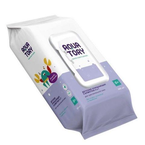 AQUATORY. Влажные салфетки 3-в-1 для чувствительной кожи, 100 шт.