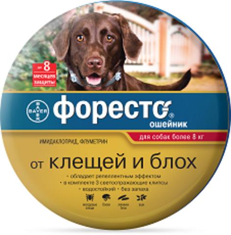Bayer Форесто Ошейник для собак более 8кг от клещей, блох и вшей защита на 8 месяцев 70см