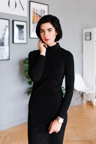 Платье-водолазка с секретом для кормления Черный