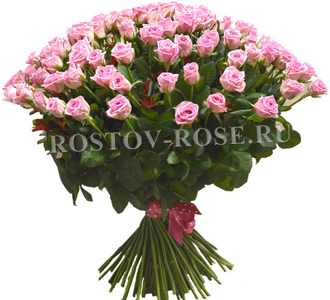 Букет 101 местная розовая роза