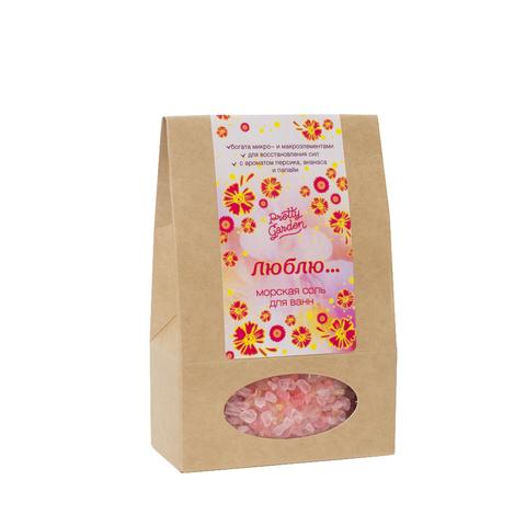 Морская соль для ванн Люблю, 500 г с ароматом персика, ананаса, папайи ТМ PRETTY GARDEN