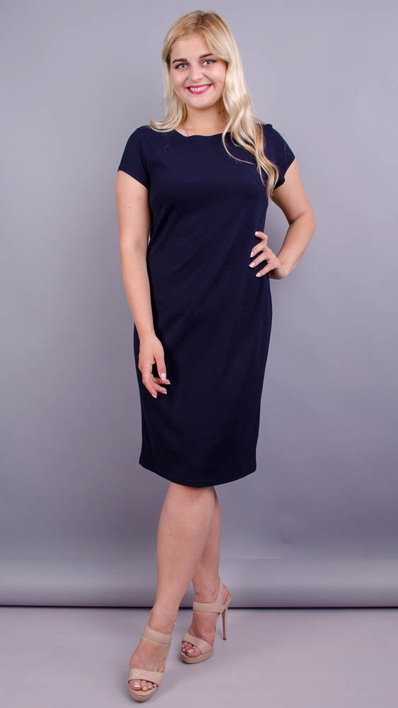 Аміна креп. Практичне плаття великих розмірів. Синій.
