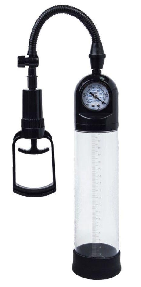 Вакуумные помпы: Чёрная вакуумная помпа A-toys с манометром и прозрачной колбой