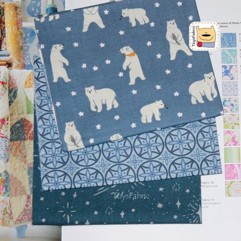 Мини набор тканей для пэчворка М5625 Белые медведи (22х27см/3шт.)
