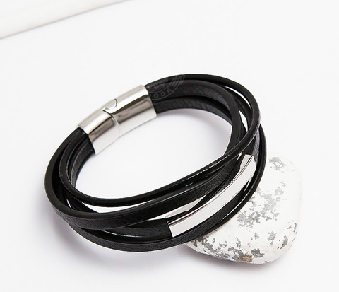 Оригинальный браслет из кожаных полос и шнуров (20 см)