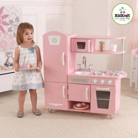 Кухня детская из дерева KidKraft Винтаж Розовая 53179_KE