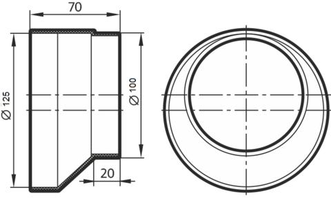 Соединитель-редуктор эксцентриковый 100х125