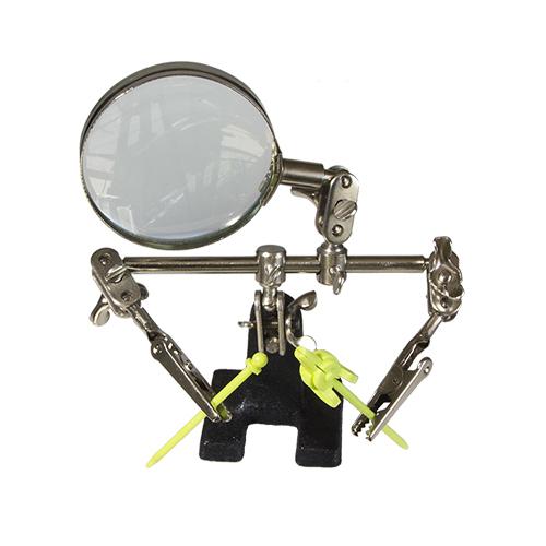 Подставка-держатель с увеличительным стеклом, 2 зажима JAS