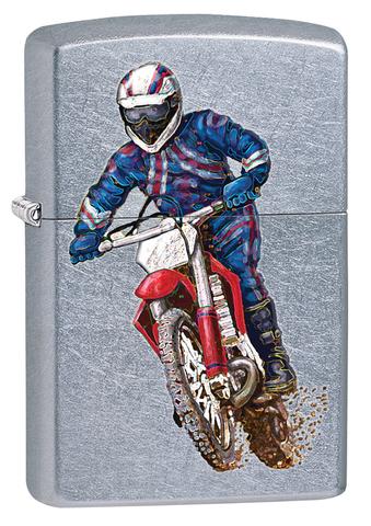 Зажигалка ZIPPO Classic Street Chrome™  Полноцветное изображение мотоциклиста  ZP-207 DIRT BIKE 2