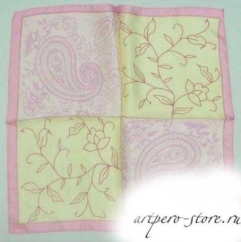 Квадратный платок, атлас (100% шёлк) (фисташковый)