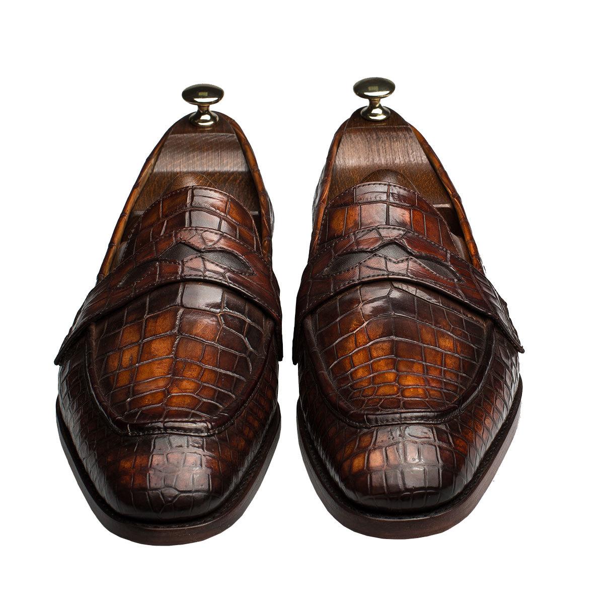 eeec4be02ea3 Мужские туфли лоферы из кожи крокодила коричневые   Артикул  MSC0403BR