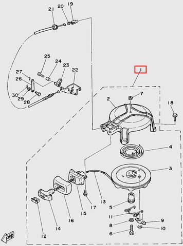 Стартер в сборе для лодочного мотора T5 Sea-PRO (4-1)