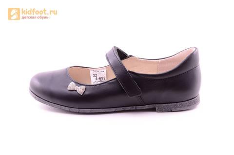 Туфли для девочек из натуральной кожи на липучке Лель (LEL), цвет черный. Изображение 3 из 18.