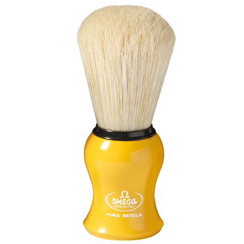 Помазок для бритья omega желтый натуральный кабан 10065