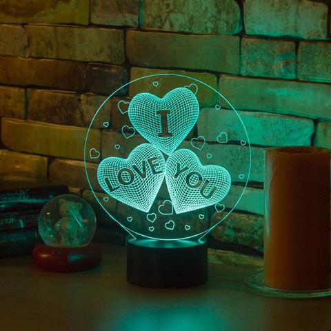 Светильник Три сердца I LOVE YOU