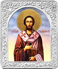 Святой Тимофей. Маленькая икона в серебряной раме.