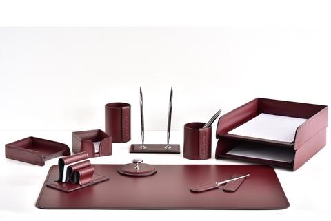 Настольный набор BUVARDO 11 предметов из кожи, цвет бордо