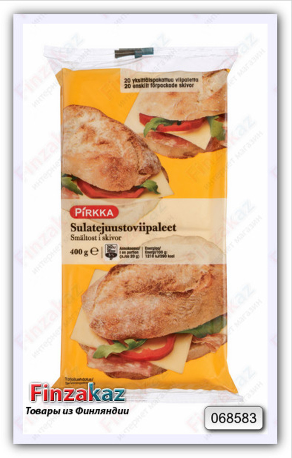 Плавленый сыр Pirkka в ломтиках (20 шт) 400 гр