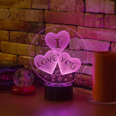 Лампа Три сердца I LOVE YOU