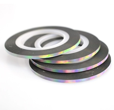 Лента для дизайна голография серебро, ширина 3мм