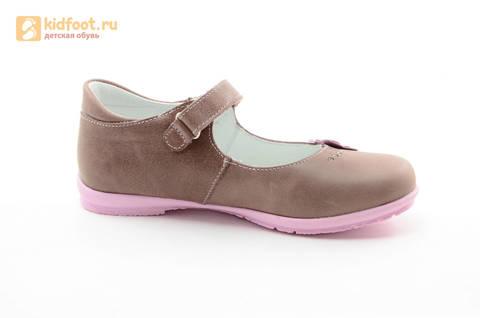 Туфли Тотто из натуральной кожи на липучке для девочек, цвет ирис серобежевый, 10204B. Изображение 2 из 16.