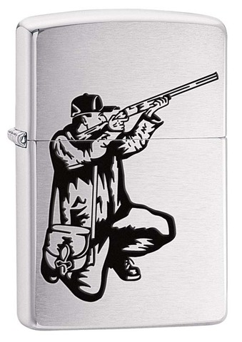 Зажигалка ZIPPO Classic Brushed Chrome™ Изображение охотника с ружьем  ZP-200 VECTOR RIFLE AND HUNT