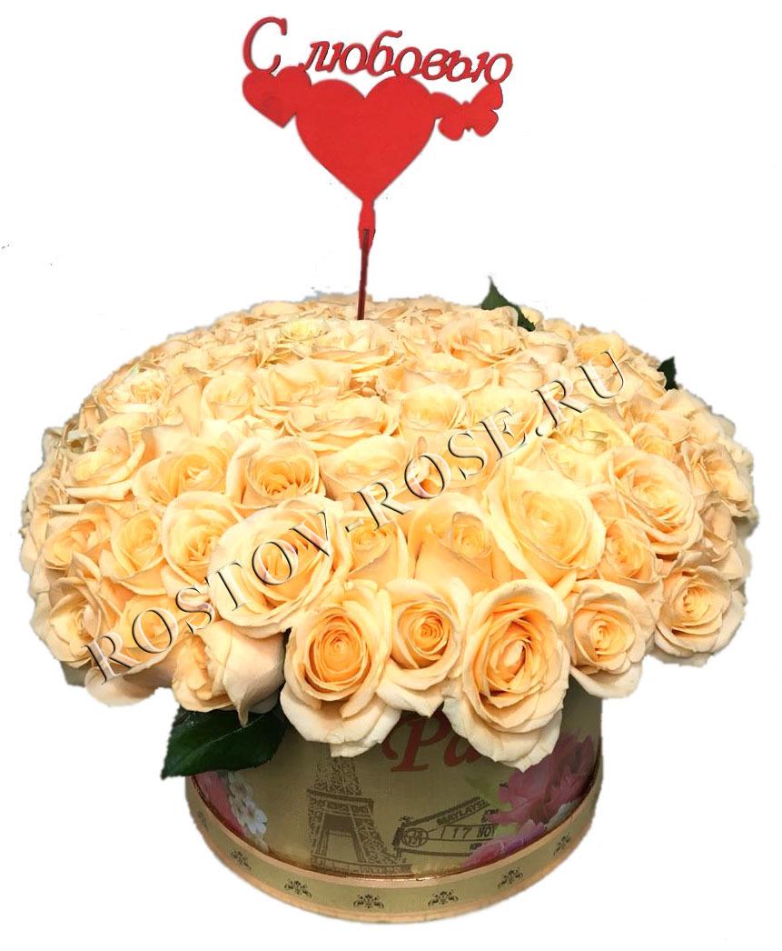 Букет из 101 местной розы сорта Аваланш пич в коробке