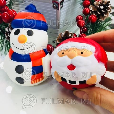 Набор новогодних сквиши Дед Мороз круглый и Снеговик