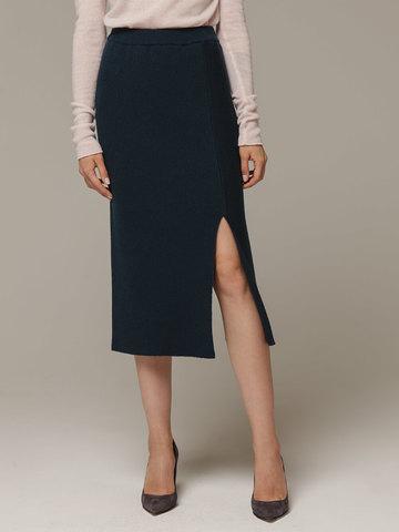 Женская темно-зеленая юбка с разрезами из шерсти и кашемира - фото 3