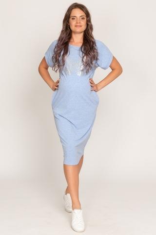 Платье для беременных и кормящих 11708 голубой