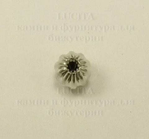 Бусина - спейсер (цвет - платина) 4 мм, 10 штук