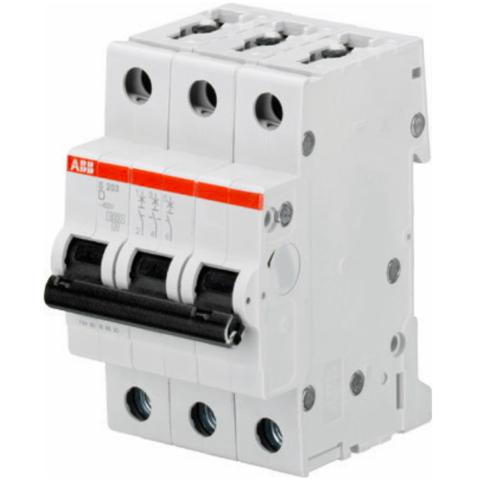 Автоматический выключатель 3-полюсный 0,5 А, тип D, 6 кА S203 D0.5. ABB. 2CDS253001R0981