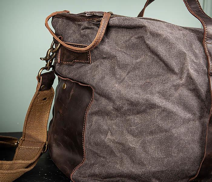 BAG499-1 Мужская дорожная сумка из ткани с ремнем фото 04